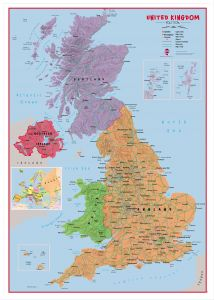Large Primary UK Wall Map Political (Pinboard & wood frame - White)