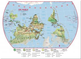 Large Primary Upside Down World Wall Map Environmental (Pinboard)