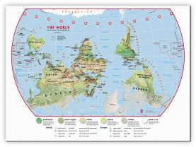 Large Primary Upside Down World Wall Map Environmental (Canvas)