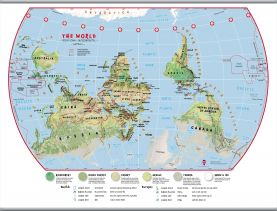 Large Primary Upside Down World Wall Map Environmental (Hanging bars)