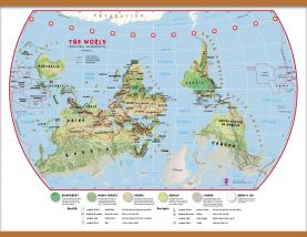 Large Primary Upside Down World Wall Map Environmental (Wooden hanging bars)