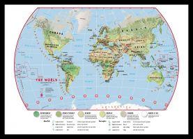 Medium Primary World Wall Map Environmental (Pinboard & framed - Black)