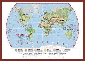 Medium Primary World Wall Map Environmental (Pinboard & framed - Dark Oak)