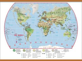 Large Primary World Wall Map Environmental (Wooden hanging bars)