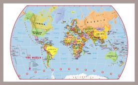 Medium Primary World Wall Map Political (Pinboard & framed - Silver)