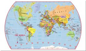 Large Primary World Wall Map Political (Pinboard)