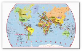 Small Primary World Wall Map Political (Canvas)