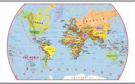 Large Primary World Wall Map Political (Hanging bars)