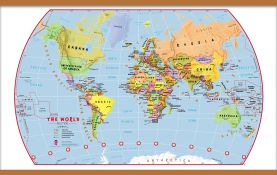 Large Primary World Wall Map Political (Wooden hanging bars)