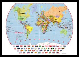 Small Primary World Wall Map Political with flags (Pinboard & framed - Black)