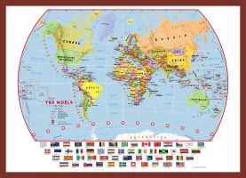 Small Primary World Wall Map Political with flags (Pinboard & framed - Dark Oak)
