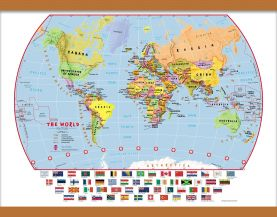 Medium Primary World Wall Map Political with flags (Wooden hanging bars)