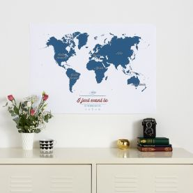 Personalised Travel Map of the World - Teal