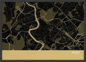 A4 Rome City Street Map Print Straw (Wood Frame - Black)