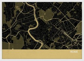 A4 Rome City Street Map Print Straw (Wood Frame - White)