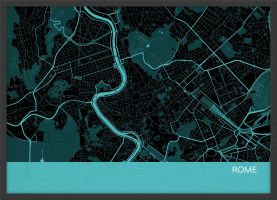 A4 Rome City Street Map Print Turquoise (Wood Frame - Black)