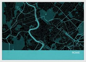 A4 Rome City Street Map Print Turquoise (Wood Frame - White)