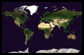 Medium Satellite Map of the World (Pinboard & framed - Black)