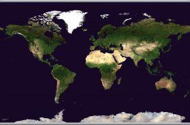 Large Satellite Map of the World (Hanging bars)