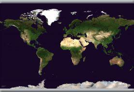 Medium Satellite Map of the World (Hanging bars)