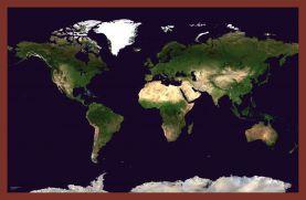 Medium Satellite Map of the World (Pinboard & framed - Dark Oak)