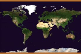 Large Satellite Map of the World (Wooden hanging bars)