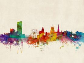 Sheffield England Watercolour Skyline