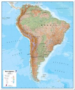 Huge South America Wall Map Physical (Pinboard)
