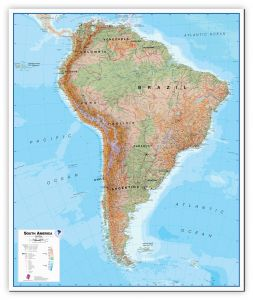 Large South America Wall Map Physical (Canvas)