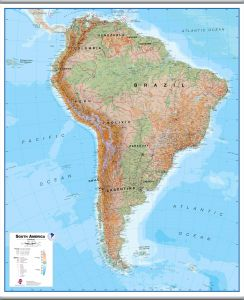 Large South America Wall Map Physical (Hanging bars)