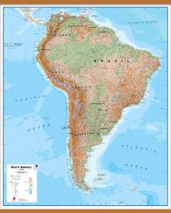 Large South America Wall Map Physical (Wooden hanging bars)