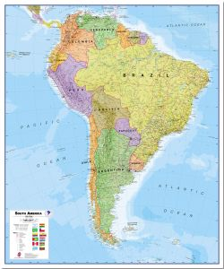 Huge South America Wall Map Political (Pinboard)