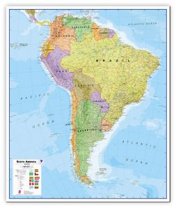 Large South America Wall Map Political (Canvas)