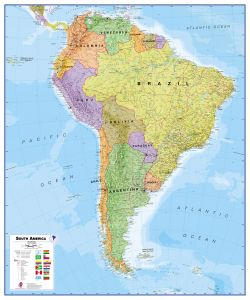 Huge South America Wall Map Political (Magnetic board and frame)