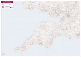 South West England Postcode District Map (Pinboard)