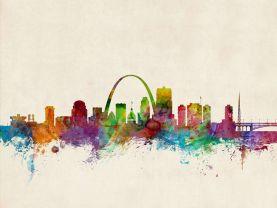 St Louis Missouri Watercolour Skyline