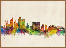 Large Sydney City Skyline (Wood Frame - Teak)