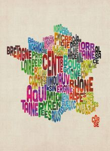 Text Art Map of France