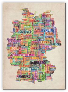 Large Text Art Map of Germany (Canvas)