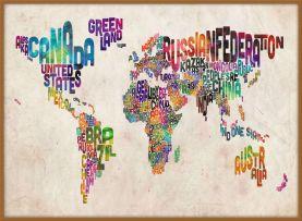 Large Text Art Map of the World (Wood Frame - Teak)