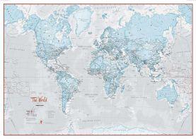Large The World Is Art - Wall Map Aqua (Paper)