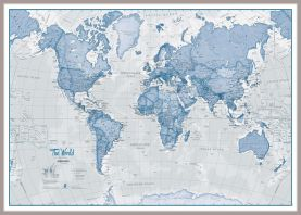 Huge The World Is Art - Wall Map Blue (Pinboard & framed - Silver)