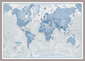 Small The World Is Art - Wall Map Blue (Pinboard & framed - Silver)