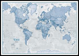 Huge The World Is Art - Wall Map Blue (Pinboard & framed - Black)