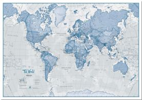 Large The World Is Art - Wall Map Blue (Pinboard)