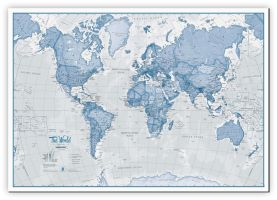 Large The World Is Art - Wall Map Blue (Canvas)