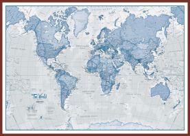 Huge The World Is Art - Wall Map Blue (Pinboard & framed - Dark Oak)