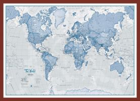 Small The World Is Art - Wall Map Blue (Pinboard & framed - Dark Oak)