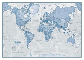 Large The World Is Art - Wall Map Blue (Wood Frame - White)
