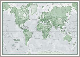Huge The World Is Art - Wall Map Green (Pinboard & framed - Silver)